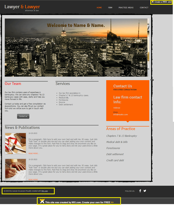 wix website builder sample page