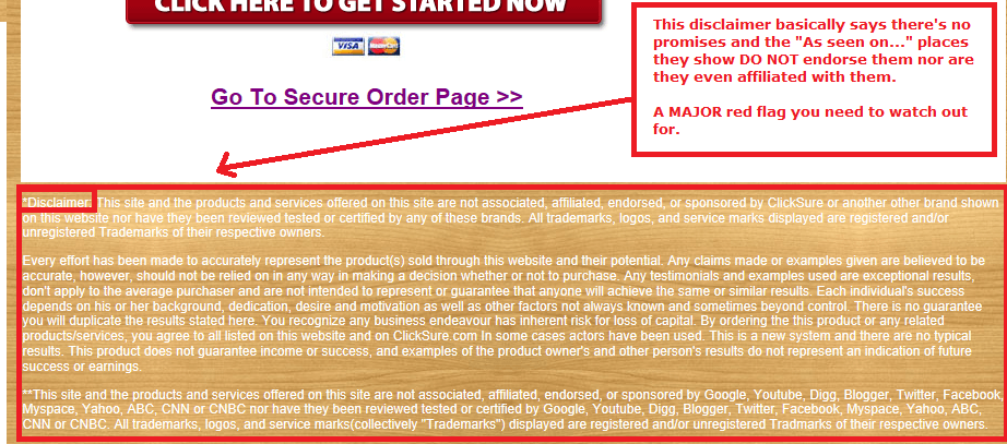 at home income package disclaimer