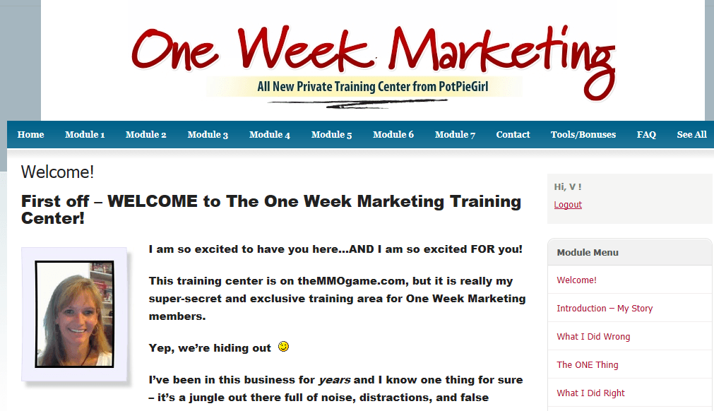 one week marketing inside