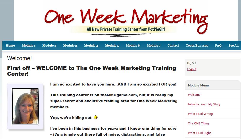 one week marketing inside