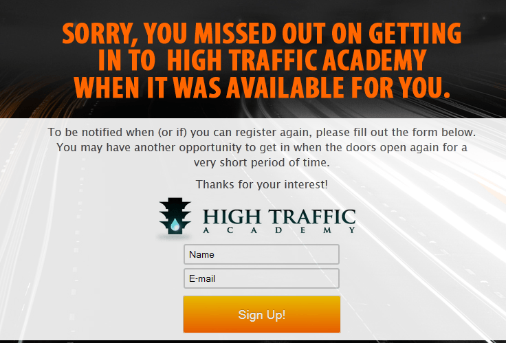 high traffic academy closed