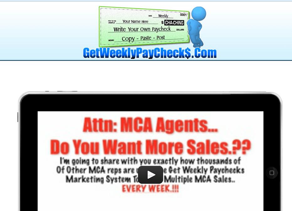 get weekly paychecks homepage screenshot