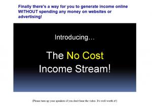 no cost income stream screenshot homepage