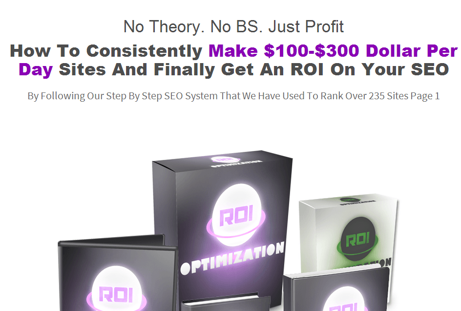 ROi optimization homepage screenshot