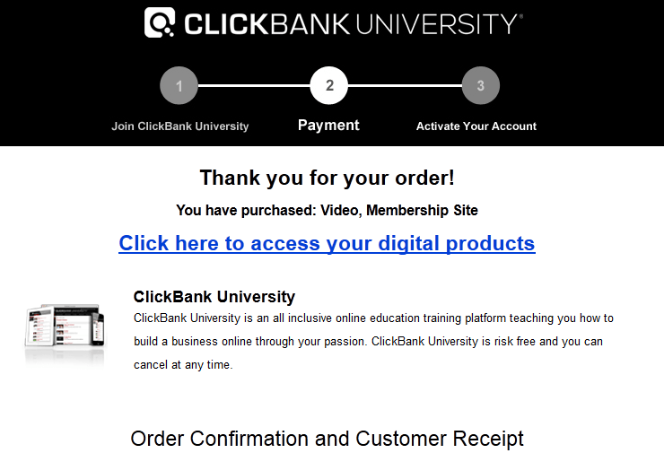 clickbank university proof of purchase