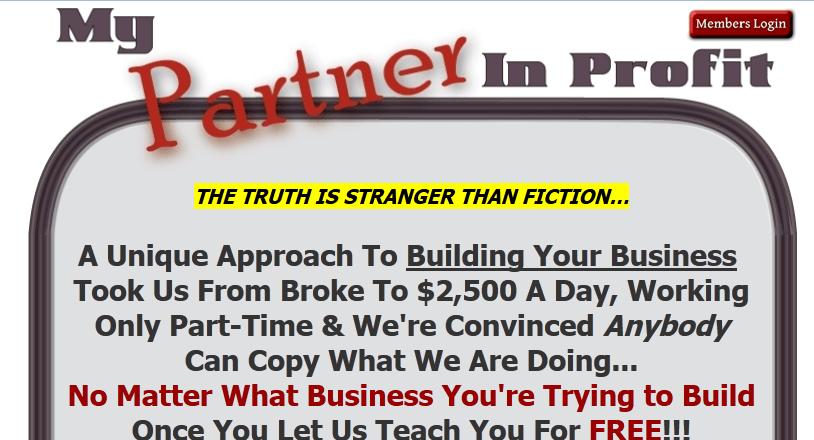 my partner in profit homepage screenshot