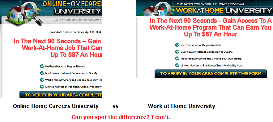 online home careers university vs work at home university