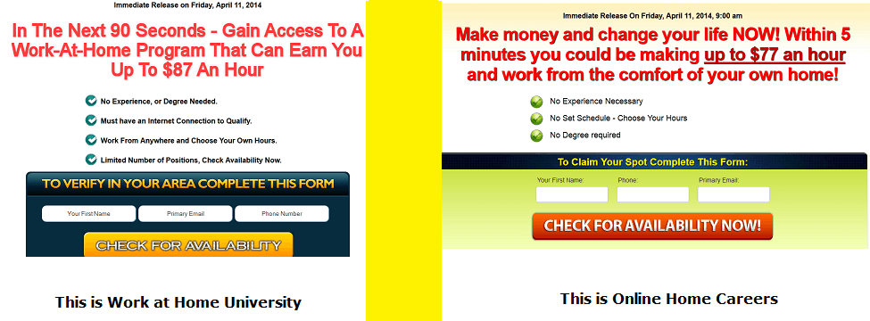 online home careers vs work at home university