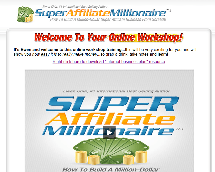 super affiliate millionaire homepage screenshot