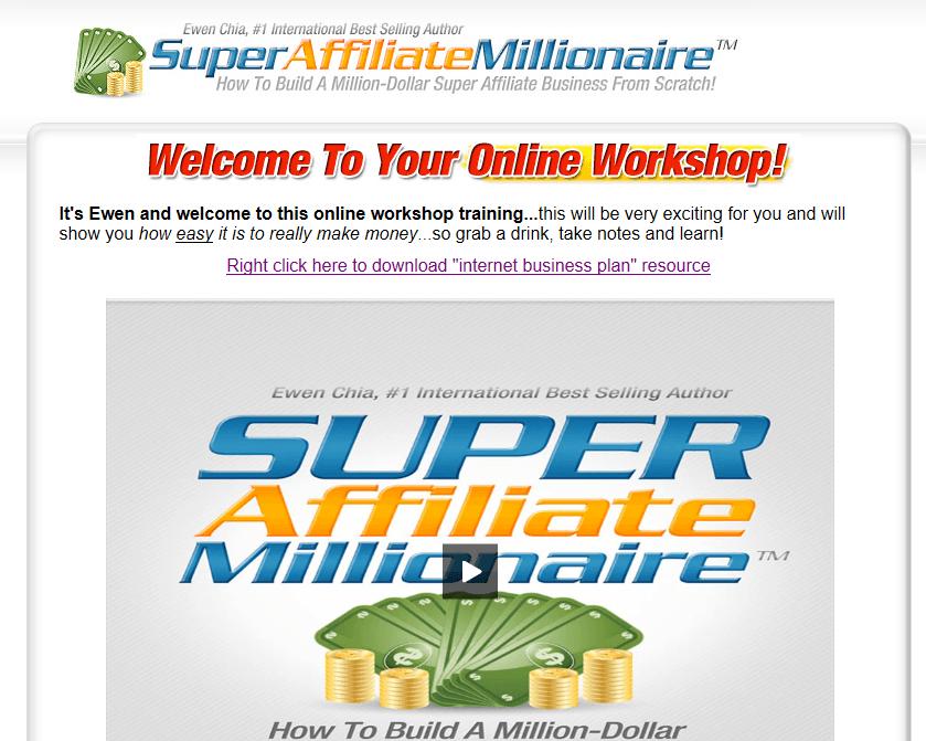 super affiliate millionaire homepage screenshot