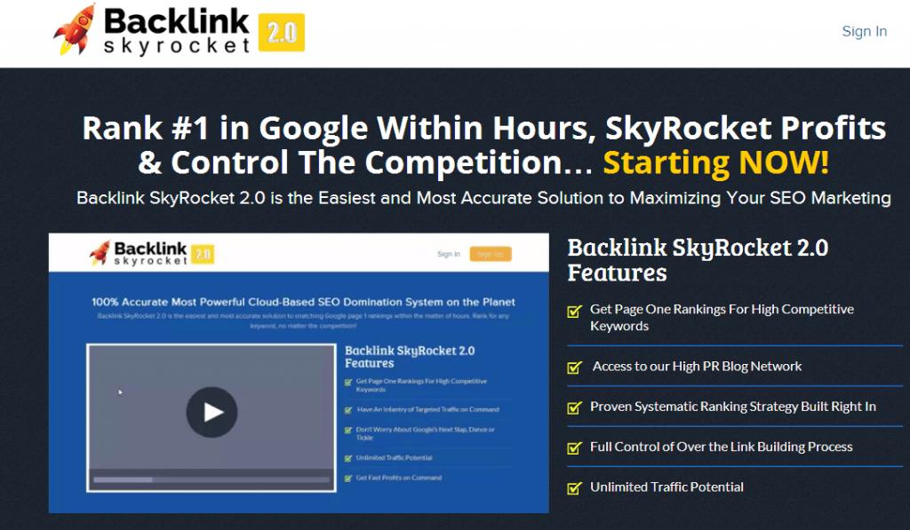 backlink skyrocket review screenshot