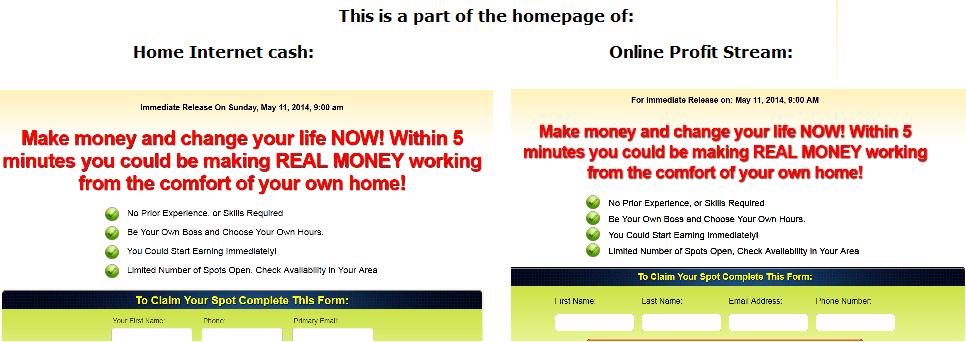 home internet cash homepage