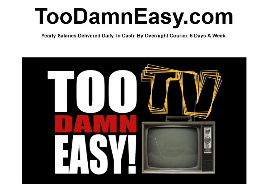 too damn easy homepage screenshot