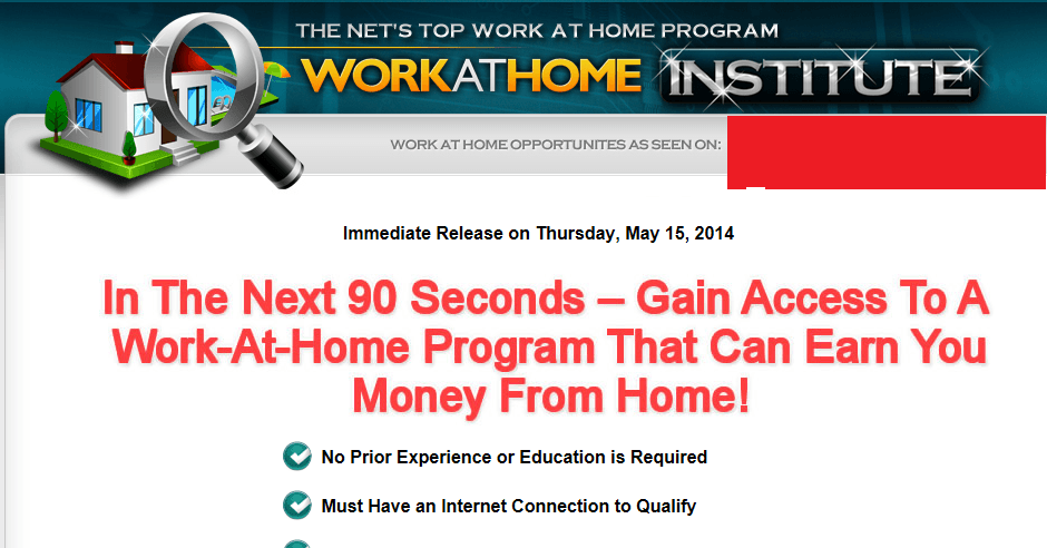 work at home institute homepage screenshot