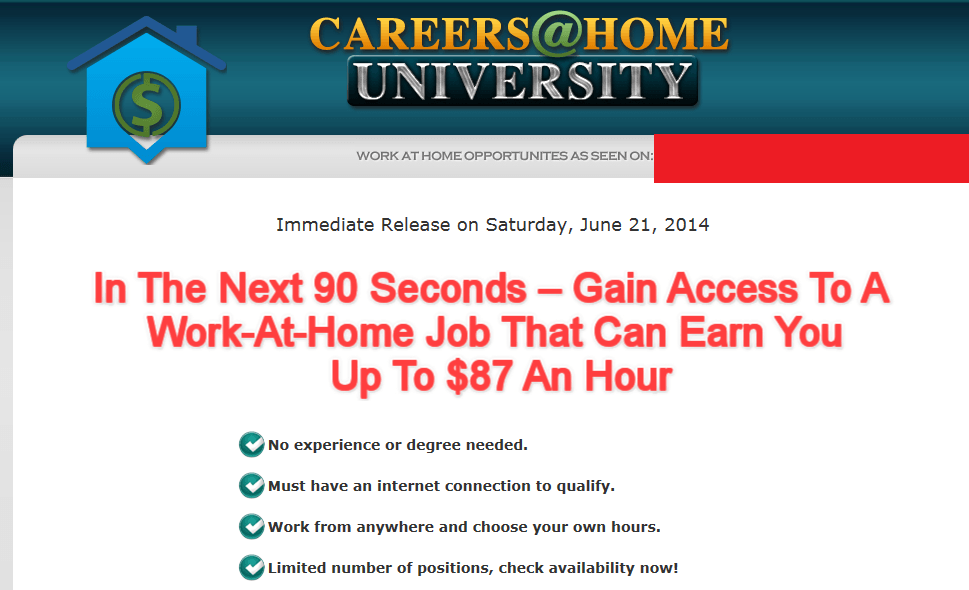 careers at home university homepage screenshot