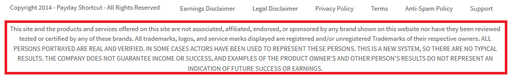 payday shortcut disclaimer