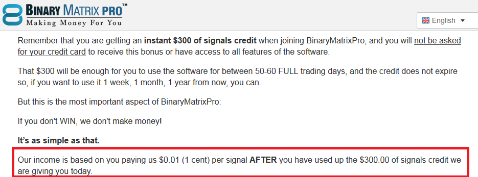 binary matrix pro incentive