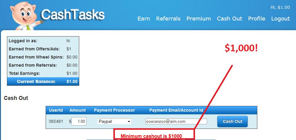 cash tasks payout