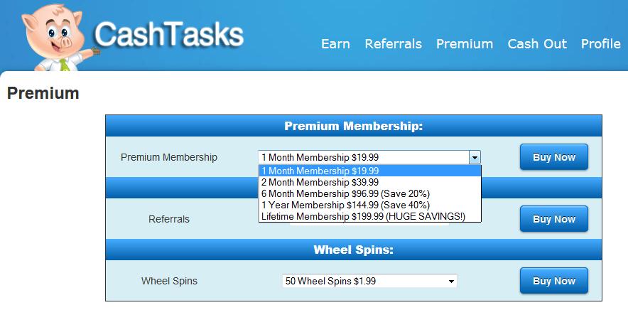 cash tasks premium pricing