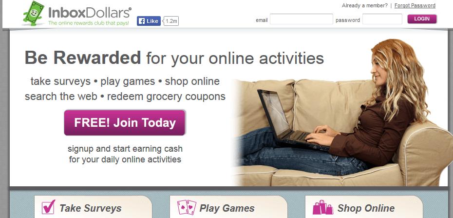 inbox dollars homepage screenshot