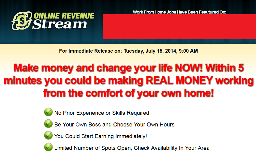 online revenue stream homepage screenshot