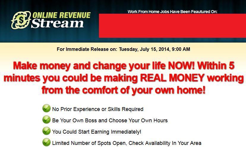 online revenue stream homepage screenshot