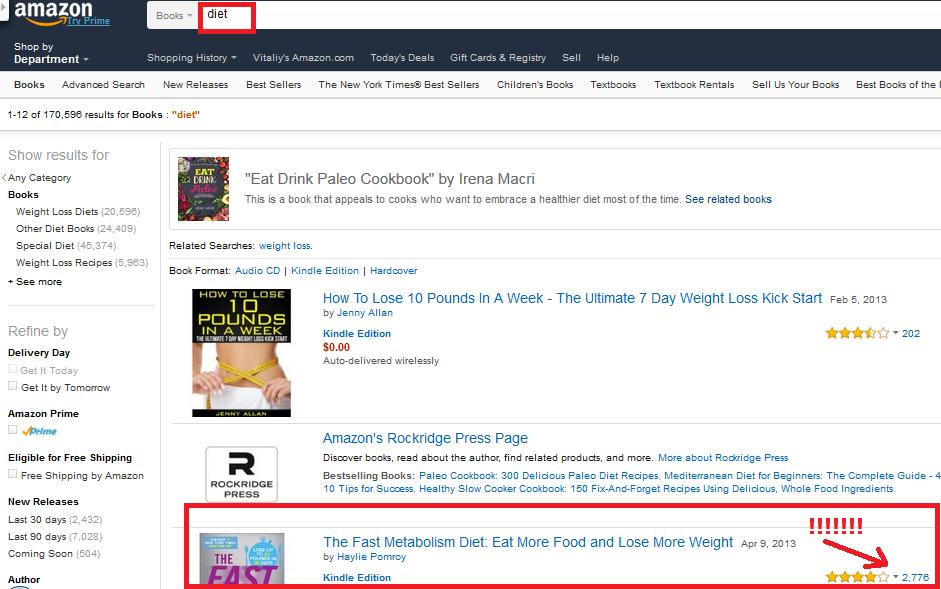 amazon's products screenshot