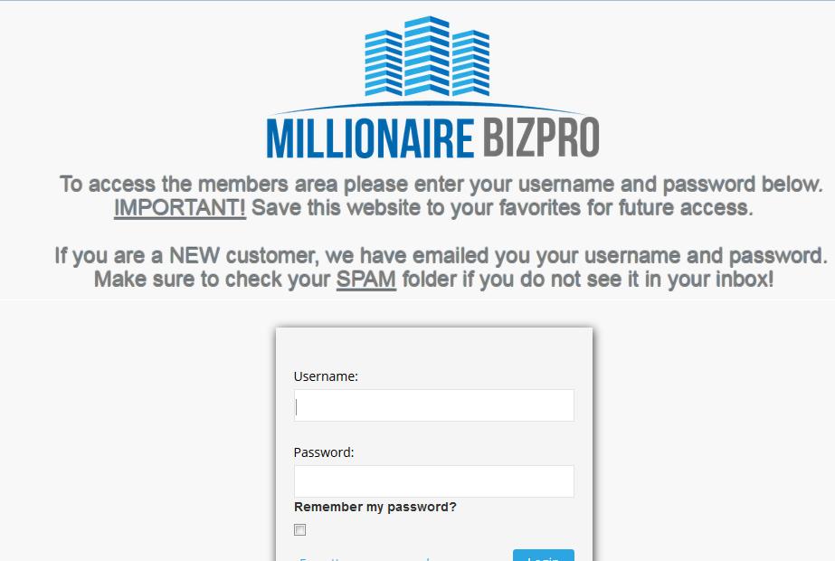 millionaire biz pro login screenshot