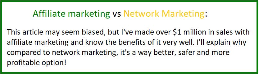 affiliate marketing vs network marketing