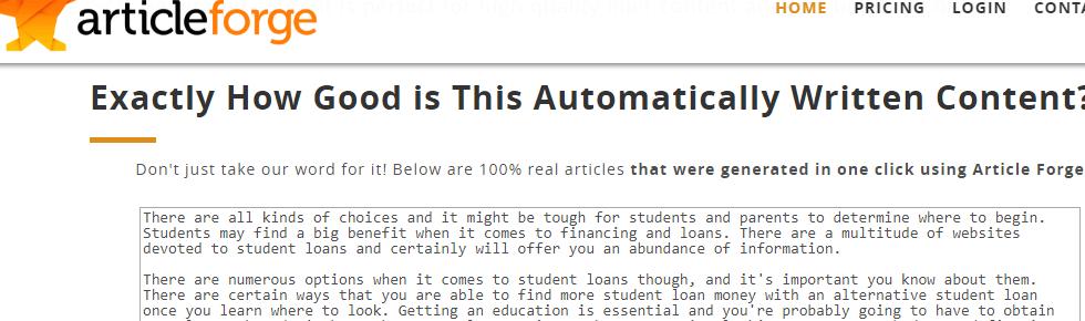 article forge sample screenshot