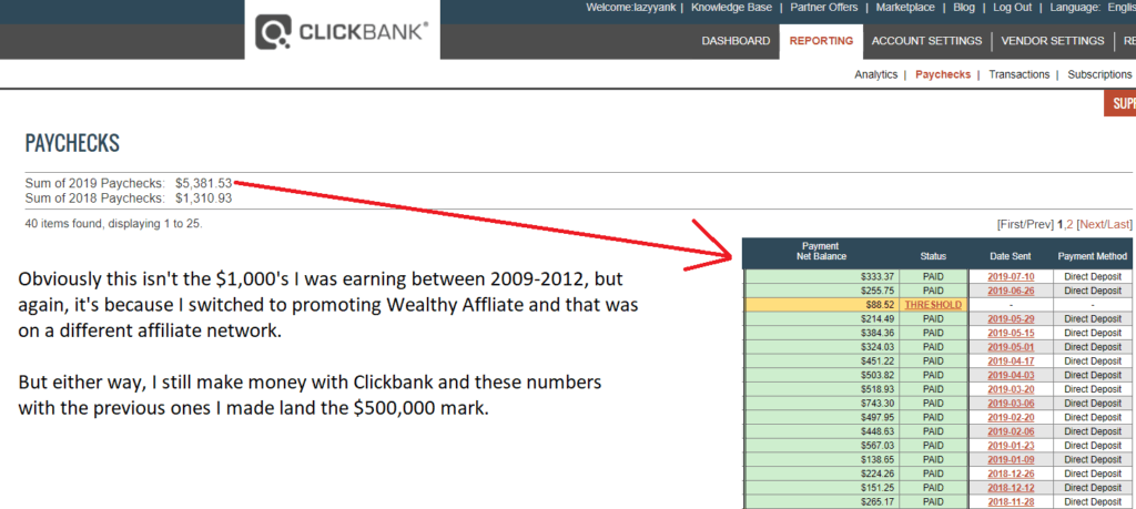 clickbank income reports