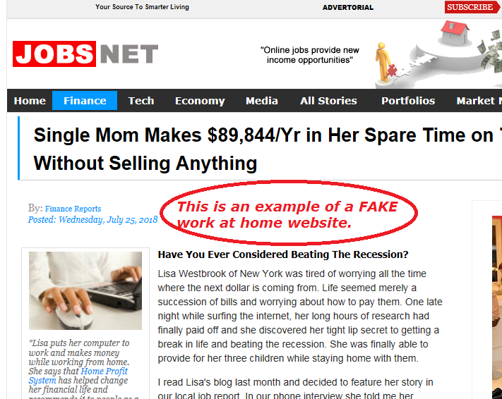 example of work at home special report page