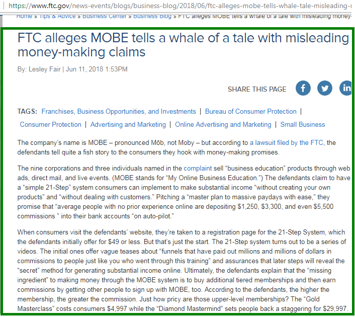 ftc official statement on mobe screenshot