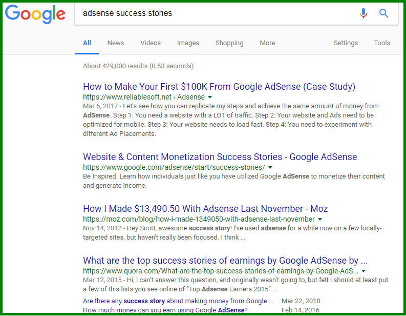 adsense success stories screenshot