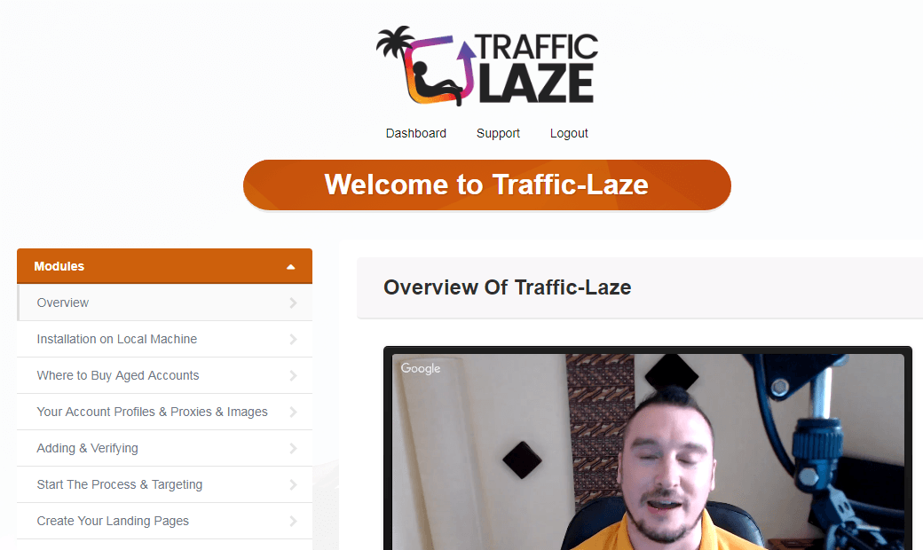 traffic laze members area screenshot