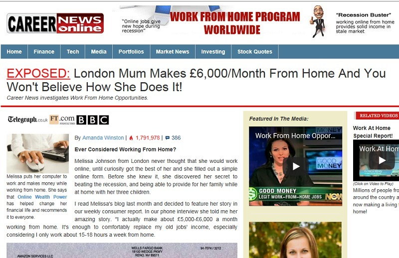 work at home special report scam