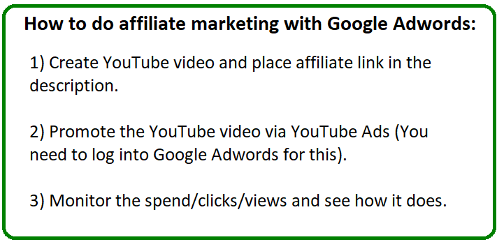 affiliate marketing with google adwords