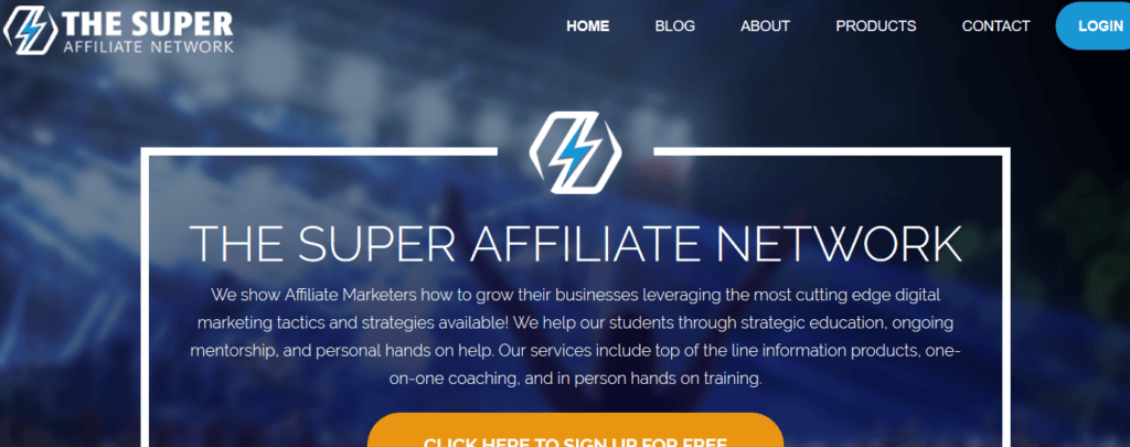 super affiliate network review screenshot of homepage