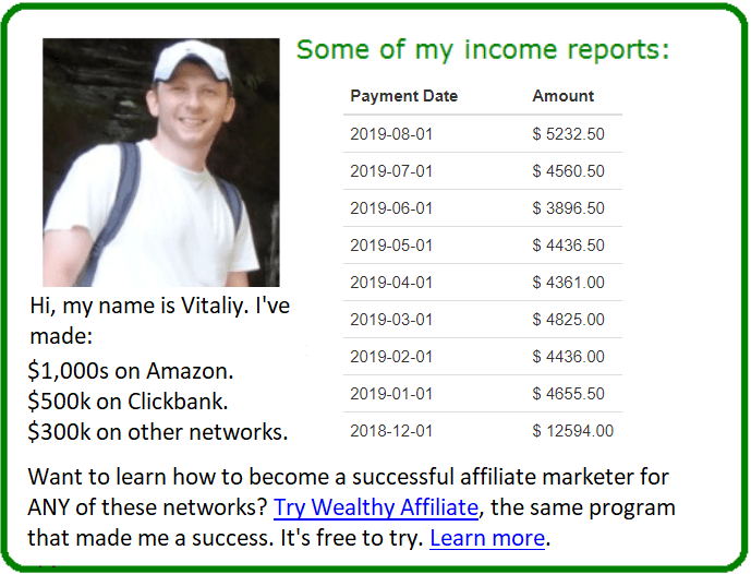 my amazon and clickbank affiliate stats