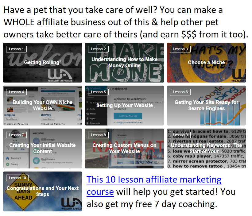 affiliate marketing 10 lesson course link