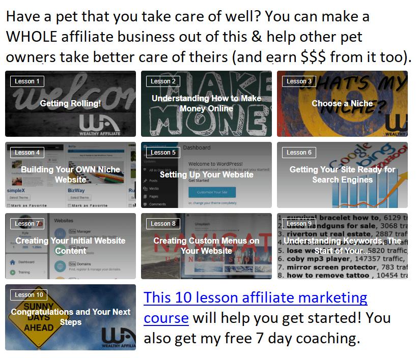 affiliate marketing 10 lesson course link