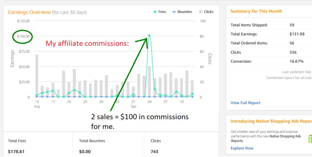 amazon affiliate commission proof