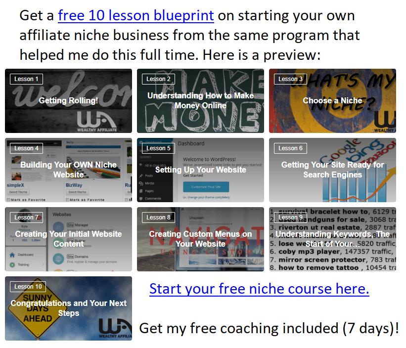 free affiliate niche course