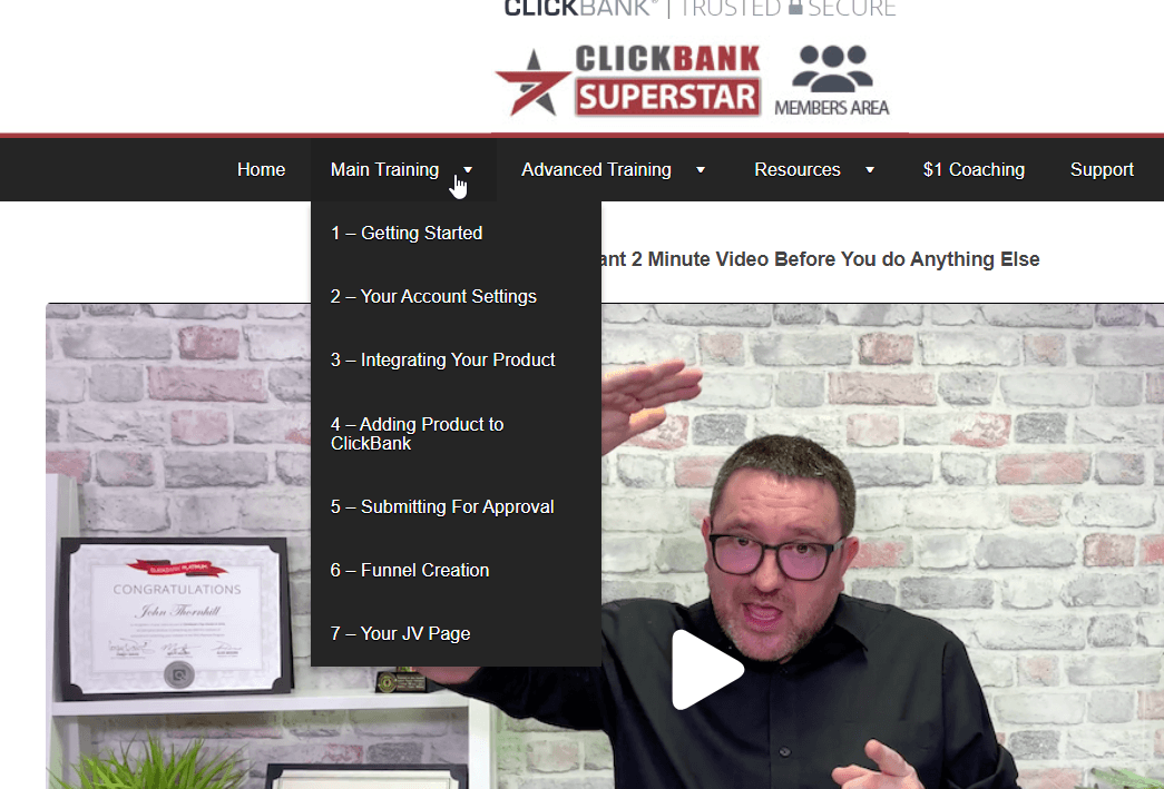 clickbank superstar members area screenshot